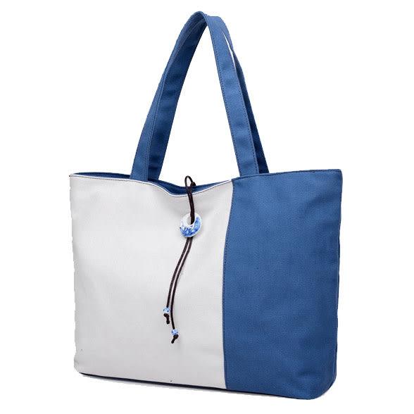 換換包!Changebag!古典簡約撞色手提帆布包