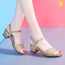 涼鞋女仙女風中跟百搭時尚女鞋韓版露趾一字扣女士高跟鞋