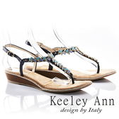 ★2018春夏★Keeley Ann經典美型~異國情懷撞色方鑽後繫帶T字夾腳涼鞋(藍色)