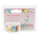 Sanrio 三麗鷗明星日本製裝飾貼紙膠帶捲(人物集合)★funbox★_702366