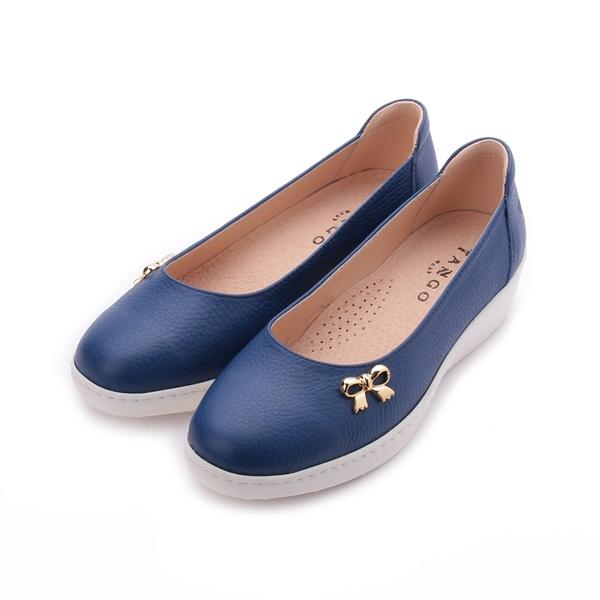 TANGO 真皮蝴蝶飾釦平底鞋 藍 U18 女鞋 鞋全家福