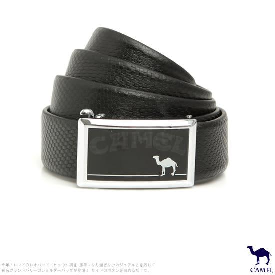 CAMEL駱駝 - 低調品味款自動滑扣頭層牛皮皮帶