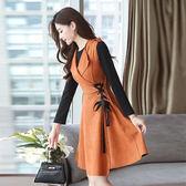 VK精品服飾 韓國風時尚背心裙顯瘦修身背帶裙套裝長袖裙裝