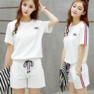 VK精品服飾 韓國風學生少女寬鬆短褲休閒跑步運動套裝短袖褲裝