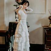蕾絲長袖洋裝 性感V領蕾絲長袖白色蛋糕裙禮服裙復古仙女度假沙灘長裙631-1420 巴黎春天