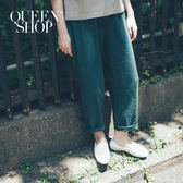Queen Shop【04101249】素色口袋造型棉麻AB褲 兩色售 S/M*預購*
