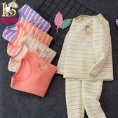 女童三層保暖內衣套裝加厚兒童棉毛衫中大童秋衣秋褲寶寶睡衣女孩   夢曼森居家