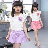 中大童短袖套裝 蕾絲袖上衣T恤+蝴蝶結裙褲二件式 FM6810 好娃娃