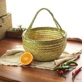 野餐籃 手工竹籃子竹編織手提菜籃竹籃子雞蛋籃水果收納竹筐竹編竹器T 2色
