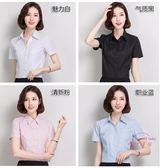 售完即止-棉白色女襯衫短袖半袖工作服正裝工裝大尺碼襯衫職業女裝7-14(庫存清出T)