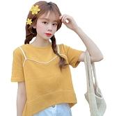EASON SHOP(GW6671)韓版假兩件撞色拼接短版薄圓領短袖T恤女上衣服落肩寬鬆內搭衫顯瘦素色棉T閨蜜裝
