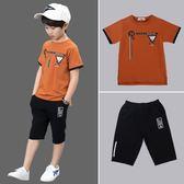 男童夏裝套裝帥氣短袖2019新款韓版潮中大童夏季小孩衣服兒童兩件滿天星