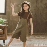 女童套裝夏季女童短袖T恤背帶褲寬鬆七分褲吊帶兩件套中大童 JY245【大尺碼女王】
