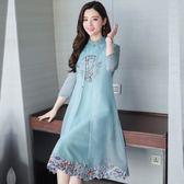 旗袍夏季女改良中國風端莊大氣中長款媽媽洋裝兩件套夏    多莉絲旗艦店igo
