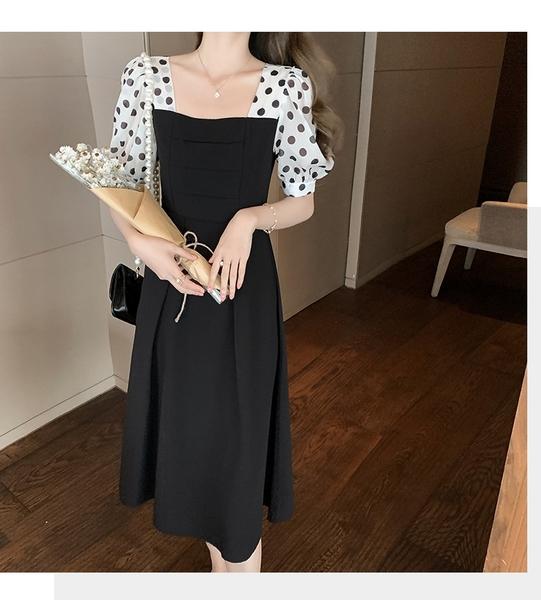 洋裝 氣質高腰拼接連身裙-媚儷香檳-【D1604】