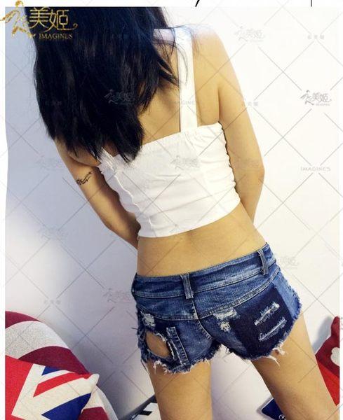 衣美姬♥鉚釘性感火辣牛仔短褲 夜店酒吧舞者熱褲 修身顯瘦款短褲