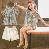 女童套裝 兒童裝洋氣韓版時尚兩件套大童