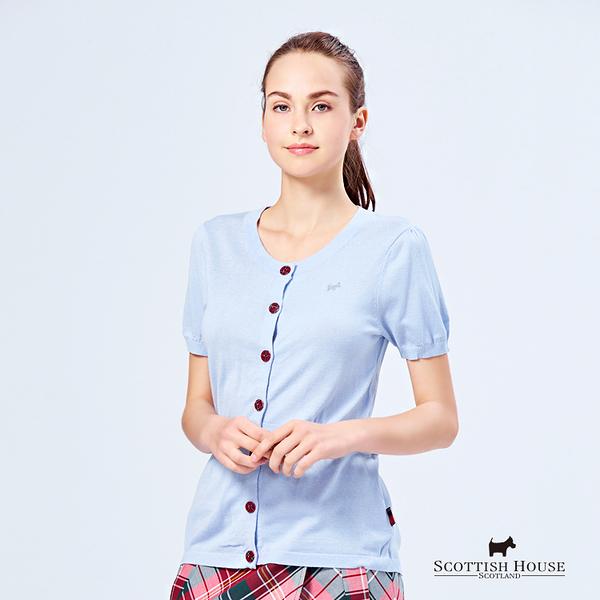 腰抽摺設計格紋釦針織外套 Scottish House【W1491】