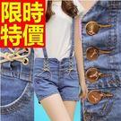 女牛仔吊帶短褲子奢華原創-隨性新品知性明星同款單寧褲子56i9【巴黎精品】