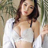 ✎﹏₯㎕米蘭shoe  【單件】日系性感蕾絲條紋無鋼圈文胸罩聚攏調整型收副乳防下垂女內衣