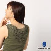 GLOBAL WORK女基本款圓領背後花朵蕾絲無袖坦克背心-五色