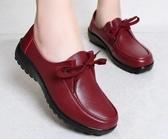 現貨-肯德基工作鞋平底軟底防滑女鞋豆豆鞋中餐廳黑皮鞋平跟媽媽鞋單鞋8-15雙12