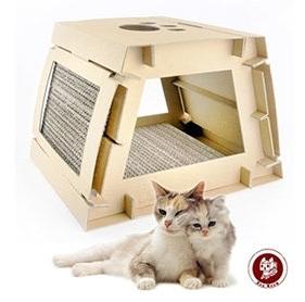 【超人百貨T】 貓奴必備 Box Meow 瓦楞貓抓板-DIY平板屋 (CS030) 兩片貓抓版皆可拆下替換更新