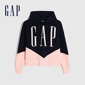 Gap女裝 Logo撞色碳素磨毛連帽休閒上衣 655701-海軍藍