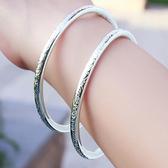 波西米亞復古S999銀鐲子女學生民族風開口未鑲嵌手環手鐲飾品 居享優品
