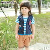 短袖連身衣 假兩件 條紋布繡 男寶寶 休閒 爬服 哈衣 Augelute Baby 42191