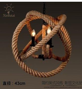 設計師美術精品館LOFT美式複古創意個性愛迪生餐廳酒吧台咖啡館麻繩吊燈 43CM