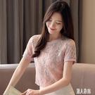 蕾絲上衣雪紡衫女裝2020新款潮流夏時尚超仙碎網紗花大碼T恤洋氣短袖 LR23532『麗人雅苑』