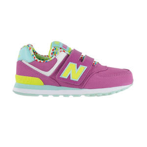 New Balance 紐巴倫 574系列 魔鬼氈 復古鞋 童鞋-桃紫X黃 KV574S6Y