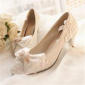 白色婚鞋蕾絲婚紗高跟鞋平底孕婦新娘單鞋中跟伴娘婚禮婚紗照鞋子限時八九折