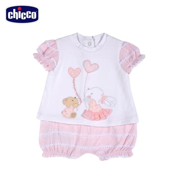 chicco-愛心小兔-愛心小兔-假兩件式短袖兔裝