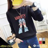 F-DNA★休閒鞋印圖圓領長袖上衣T恤(4色-M-2XL)【ET12902】