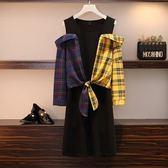 大尺碼XL-5XL/棉花糖大碼女裝洋裝胖mm秋裝新款拼色格子洋氣假兩件連衣裙4F119.8214韓依紡