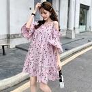大碼洋裝 吊帶裙 2021夏新款甜美櫻桃印花女胖mm大碼寬鬆顯瘦心機 快速出貨