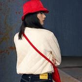 Levis Red 工裝手稿風復刻再造 女款 雙面穿鋪棉重磅大學T / 寬鬆休閒版型 / 象牙白