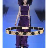 韓版時尚金屬腰帶女細裝飾百搭配裙子腰錬彈力鬆緊洋裝配飾皮帶  小時光生活館
