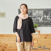 【Tiara Tiara】百貨同步 V領簡約風素色短袖上衣(白/黑)