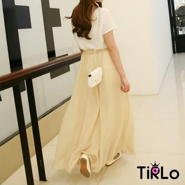 雪紡裙-Tirlo-氣質垂墜傘擺女神雪紡裙-六色