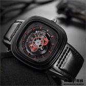 大錶盤 手錶男  方形  無指針 潮錶 創意