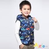 Azio Kids 男童 背心 滿版汽車連帽鋪棉背心(藍) Azio Kids 美國派 童裝