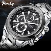 『潮段班』【SB000604】LONGBO 80135 時分秒顯示 夜光 防水 鋼帶手錶 男錶