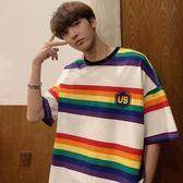 店長推薦夏季小清新個性寬鬆半袖T恤韓版彩虹拼色印花短袖上衣男士打底衫
