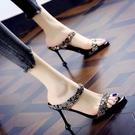 高跟拖鞋 涼拖鞋女夏2020春大東新款細跟涼鞋歐美性感流行貓跟露趾高跟女鞋