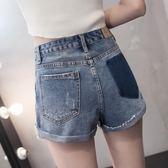 破洞高腰牛仔短褲女夏寬鬆個性顯瘦寬管寬管毛邊A字褲熱褲潮 街頭布衣