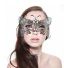 金屬鐵藝面具 縷空面具 半臉面具大蝴蝶面具黑色 聖誕節萬聖節化妝舞會派對表演服裝道具