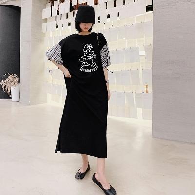 胖妹妹大碼洋裝連身裙~6218長款寬松拼黑白格泡泡袖短袖連身裙DC109胖妹大碼女裝